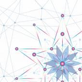 Pozadí abstraktní geometrická čar a bodů jsou spojeny v geometrické kresby dodekadron ve tvaru hvězdy