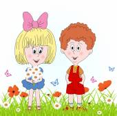Boy and girl on a green meadow with flower, illustration,vector.