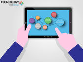 TABLET WITH OPTIONS TO INFOGRAPHIC COLORFUL