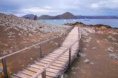Wooden boardwalk on Bartolome island, Galapagos National Park, E
