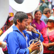 Постер, плакат: LIMA PERU JANUARY 31: Unidentified man plays sausaphone during