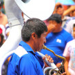 Постер, плакат: LIMA PERU FEBRUARY 1: Unidentified man plays sousaphone at Fest