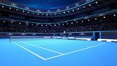 Gesamte Tennisplatz aus der Perspektive des Spielers
