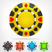Poker chip isometric color set 3D object isolated on white vector illustration