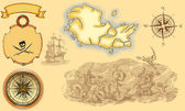 Pirate map on yellow background