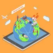 Online-Shopping flach isometrische Vektor-Konzept