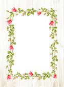 Wedding flower frame with flowers over white Vector illustration