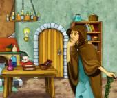 Stará čarodějnice v starém pokoji
