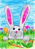 Húsvéti nyúl a tojás és a zöldségek, holiday koncepció, tavaszi szezon, gyermek rajz papír zöld fű-réten