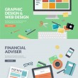 Постер, плакат: Flat design vector illustration concepts for graphic design and web design development and financial adviser