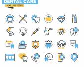 Flat line icons set of dental care theme, dental services, equipment and products, dental treatment and prosthetics
