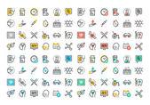 Rovná čára barevné ikony kolekce medicíny téma