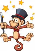 Cartoon magician monkey Vector clip art illustration with simple gradients Stars and monkey on separate layers