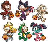 Cartoon Halloween kids Vector clip art illustration with simple gradients Each on a separate layer