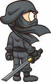 Cartoon ninja seen from behind Vector clip art illustration with simple gradients All in a single layer