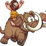 Постер, плакат: Caveman riding a mammoth