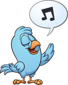 Blue singing bird Vector clip art illustration with simple gradients All in a single layer