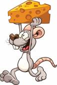 Cartoon mouse carrying a big piece of cheese Vector clip art illustration with simple gradients Mousefront arm and cheese on separate layers for easy editing