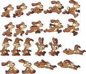Bunny rabbit sprites Vector clip art illustration with simple gradients Each element on a separate layer