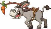 Donkey following a carrot tied to its back Vector clip art illustration with simple gradients All in a single layer