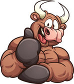 Cartoon bull Vector clip art illustration with simple gradients All in a single layer