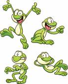 Cartoon frog in different poses Vector clip art illustration with simple gradients Each on a separate layer