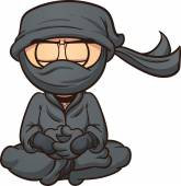 Meditating cartoon ninja Vector clip art illustration with simple gradients Ninja and mask's clothes are on separate layers