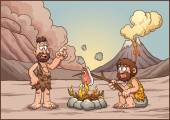 A couple of cavemen discussing over a fire Vector clip art illustration with simple gradients Cavemen and background on separate layers