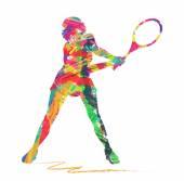 Abstrakte Tennis Spieler Kontur