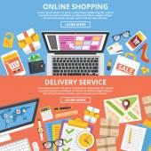 Nakupování online, dodání služby paušální ilustrace set