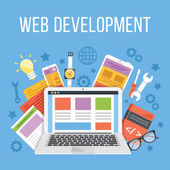 Web development flat illustration concept Modern flat design concepts for web banners web sites printed materials infographics Creative vector illustration