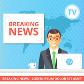 Breaking news flat illustration concept Newscaster in the television studio Modern flat quality design for web banners web sites printed materials infographics Creative vector illustration