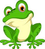 Vector illustration of funny Green frog cartoon sitting