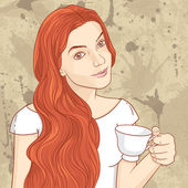 Cute retro redhead girl with cup of coffee or tea vector
