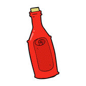 Retro comic book style cartoon message in bottle