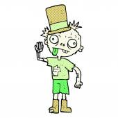 Freehand drawn comic book style cartoon zombie