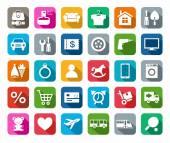 Ikony, on-line obchod, kategorie výrobků, barevné pozadí, stín