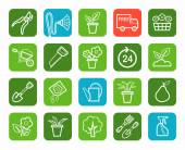 Vector linear icons on the theme of gardening and landscape design White image on green and blue background
