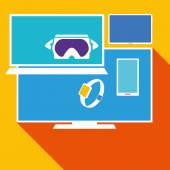 Computer electronic equipment set vector illustration over yellow background