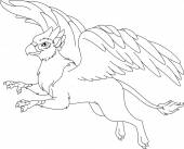 Mythological animal Griffin fly