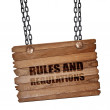 ������, ������: Rules and regulations 3D rendering wooden board on a grunge ch