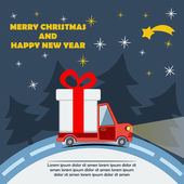Christmas and New Year greeting card with gift delivery van goes on winter road in Xmas eve Template vector concept