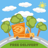 Free delivery van truck with fire vinyl logo on the road with trees clouds and sun Vector concept