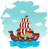 Children riding on viking boat illustration