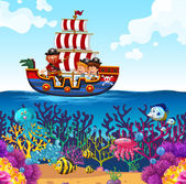 Children on viking boat and ocean scene illustration