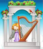Fairy playing harp in heaven illustration