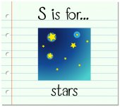 Flashcard letter S is for stars illustration