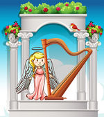 Angel playing harp in garden illustration