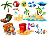 Summer set with toys and island illustration