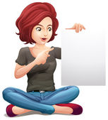 Illustration of a pretty woman holding an empty board on a white background